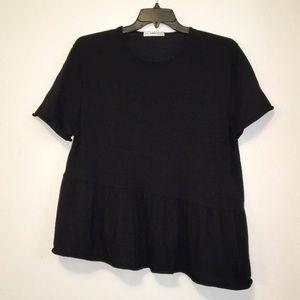 Zara black asymmetrical peplum sweater